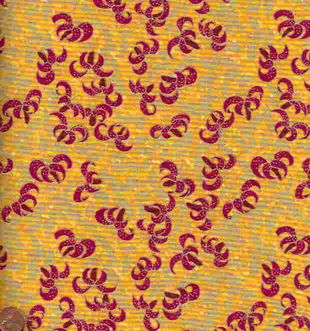 Travel the Orient gold red leaves metallic Camelot fabric