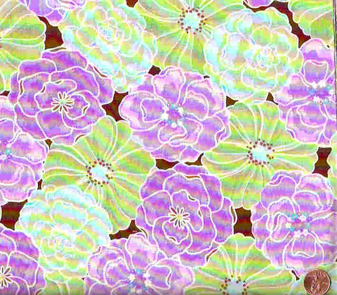 Urban Garden purple green flowers floral Free Spirit fabric