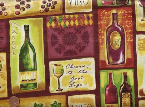 Wine Tasting 21518 blocks bottles kitchen Spectrix fabric
