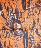 Zombies orange black Halloween Alexander Henry fabric