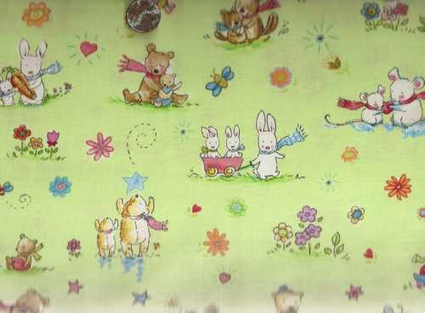 Big and little animals green Timeless Treasures fabric