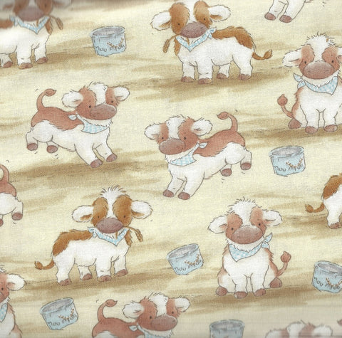 Bunnies by the Bay cows baby calves farm Timeless Treasures fabric