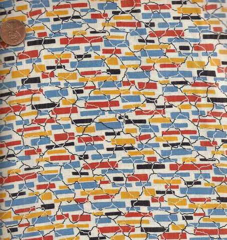 Everything but the Kitchen Sink orange blue 0619/3 1930s reproduction fabric