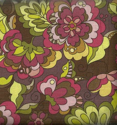 Fiona's Fancy big funky flowers brown green Riley Blake fabric