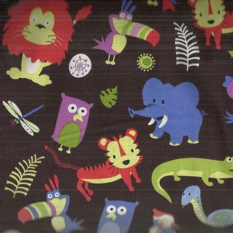 Jungle Jumble brown animals childrens Michael Miller fabric