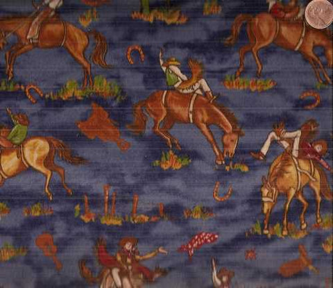 King of the Ranch 11211 12 blue cowboys bucking broncos western Moda fabric