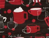 Metro Cafe black red espresso coffee latte cups Kaufman fabric