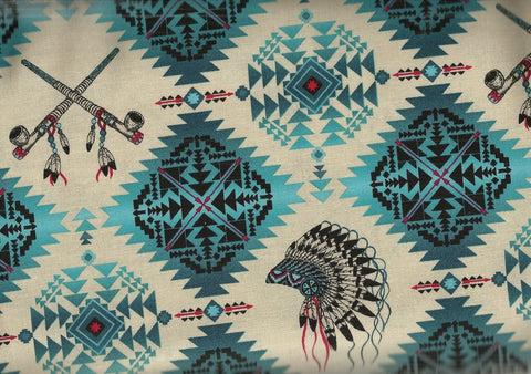 Native Spirit turquoise southwestern fabric