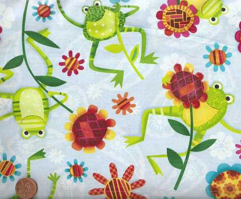 Oh Hoppy Days funny frogs on blue Spectrix fabric