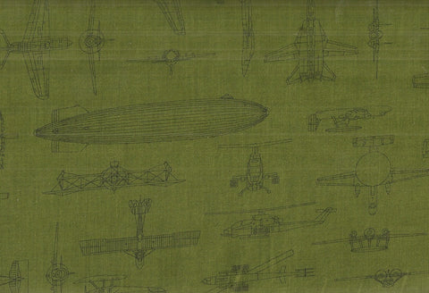 Patriots 5 olive line drawings airplanes Kaufman fabric