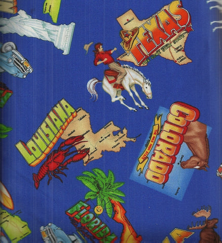 States retro travel blue Timeless Treasures cars fabric