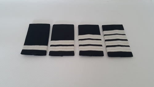 SHOULDER BOARDS SILVER STRIPES ON BLACK