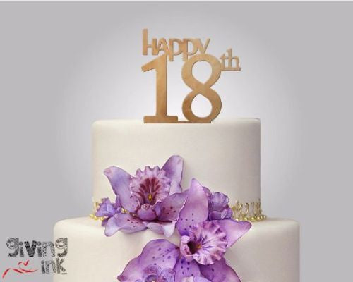 Rustic Wood Cake Topper Happy 18th
