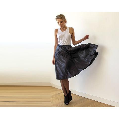 Metallic Black Midi Skirt with pockets 3011
