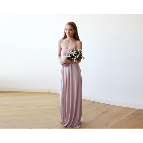 Strapless Maxi Gown in Blush Pink 1115