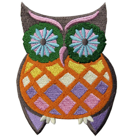 Groovy Owl Embroidered Iron On Sew On Patch