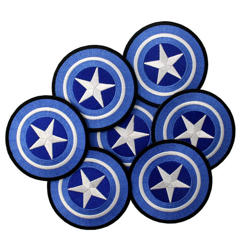 Captain America Marvel White /& Blue 4/'/' Patch Embroidered Sew or Iron on Badge