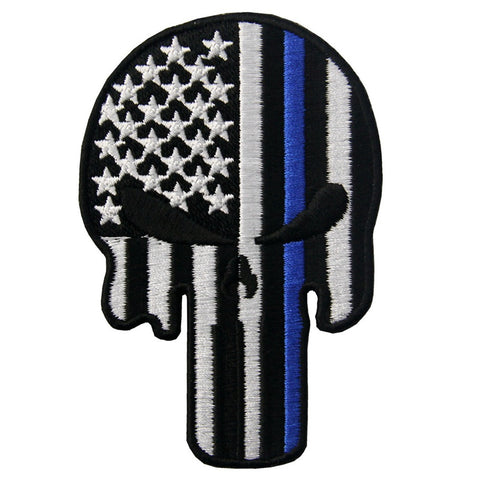 Punisher Skull Blue Line Iron On Sew On Patch