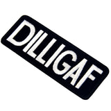 DILLIGAF Embroidered Biker Iron On Sew On Patch
