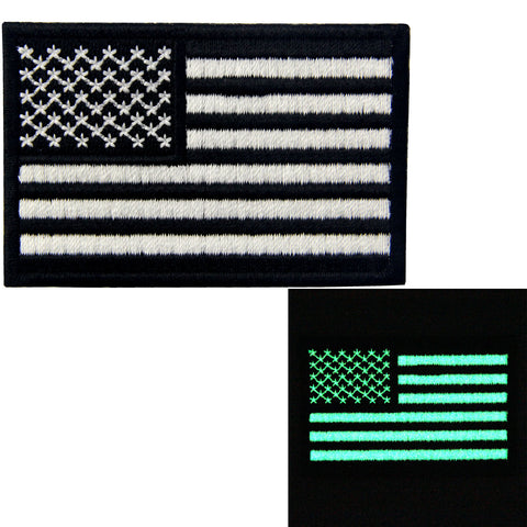 Glow In Dark American Flag Iron On Sew On Patch