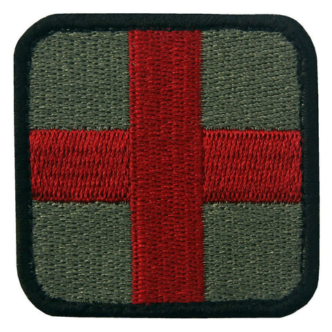 Medic Cross Velcro Patch - Olive & Red
