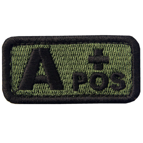 Type A Positive Blood Velcro Patch - Olive & Black