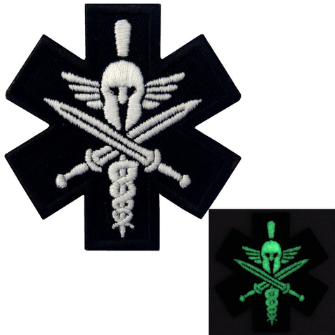 Glow In Dark Medic Spartan Iron On Sew On Patch