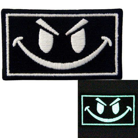 Glow In Dark Evil Smile Face Embroidered Iron On Sew On Patch