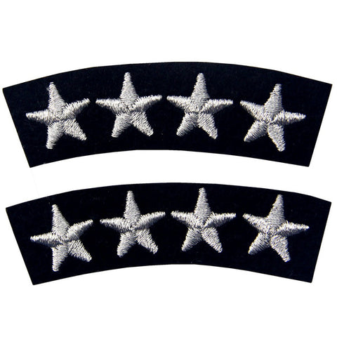 Navy Uniform Four Stars Iron On Sew On Patch, 2 pcs