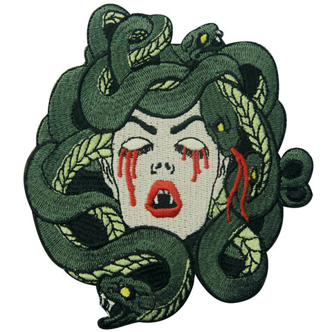 Bleeding Medusa Embroidered Iron On Patch