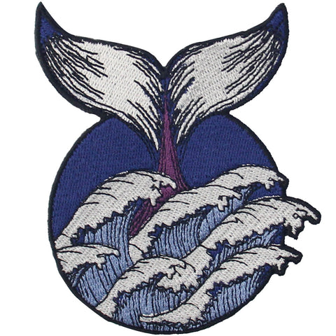 Whale Wave Embroidered Iron On Patch