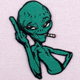 Alien Smoking Embroidered Iron On Patch