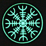 Glow In Dark Aegishjalmr Viking Helm of Awe Terror Iron On Sew On Patches