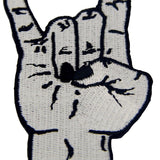 Punk Rock and Roll Applique Hand Symbol Embroidered Iron On Sew On Patch