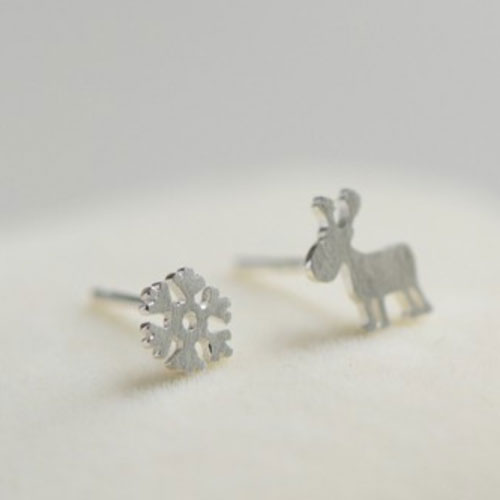 Silver Earrings Tiny Stud Cartoon Reindeer Snowflake Christmas Gift Jewelry Accessories Women
