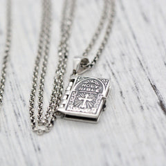 Silver Necklace Personalized Bibles Pendants Chokers Jewelry Accessories Gift Men Women