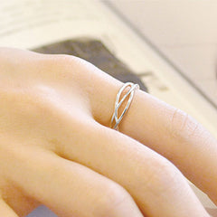 Silver Ring Woven Statement Ring Adjustable Ring Wrap Gift Jewelry Accessories Women