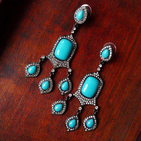 Vintage Earrings Turquoise Chandelier Rhinestone  Baroque Water Drop Dangle Gift Jewelry Accessories Women