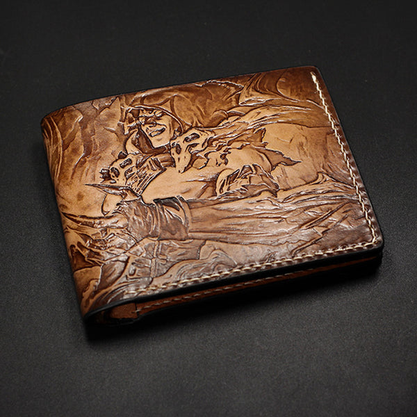 Handmade Leather Short Tooled League of Legends LOL VLADIMIR THE CRIMSON REAPER Wallet Personalized Monogrammed Gift Custom Cool Leather Wallet Slim Wallet for Men