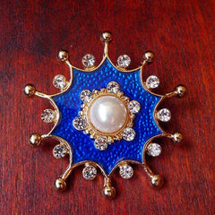 Vintage Brooch Enamel Rhinestone Pearl Gift Jewelry Accessories Women