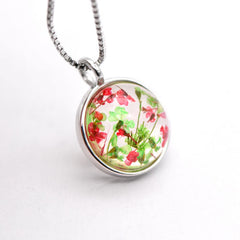 Silver Necklace Real Preserved Flower Lampwork Glass Multicolor Pendant Gift Jewelry Accessories Women