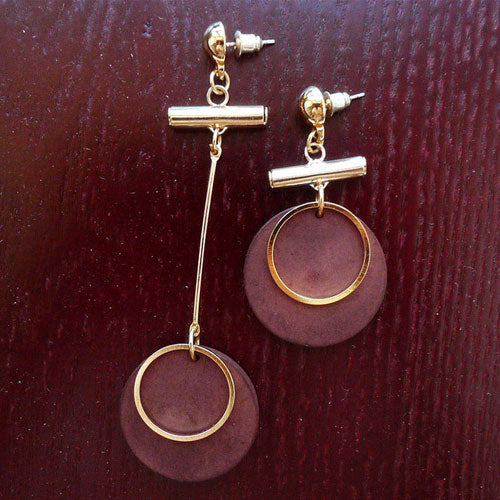 Wooden Earrings Hoop Round Asymmetry Long Drop Dangle Gift Jewelry Accessories Women