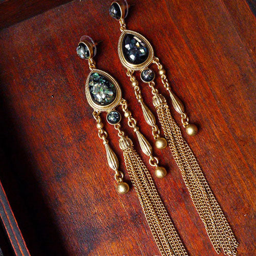 Vintage Earrings Tassel Thread Black Lip Shell Water Drop Long Dangle Gift  Jewelry Accessories Women