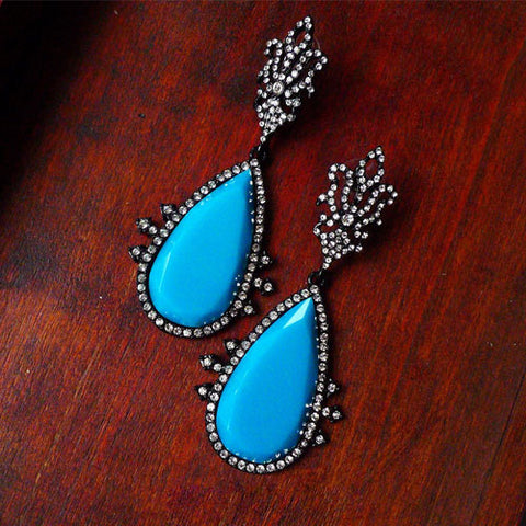 Vintage Earrings Turquoise Hoop Rhinestone  Baroque Water Drop Dangle Gift Jewelry Accessories Women