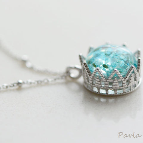 Sliver Necklace Crown Dried Flower Floral Glaze Glass Ball Pendant Charm Necklace Gift Jewelry Cute Accessories Women