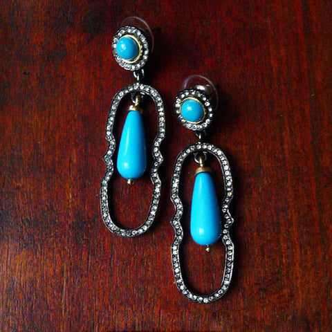 Vintage Earrings Turquoise Hoop Rhinestone Water Drop Dangle Gift Jewelry Accessories Women