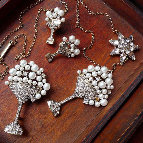 Vintage Necklace Wine Cup Petal Rhinestone Long Pendant Gift Jewelry Accessories Women