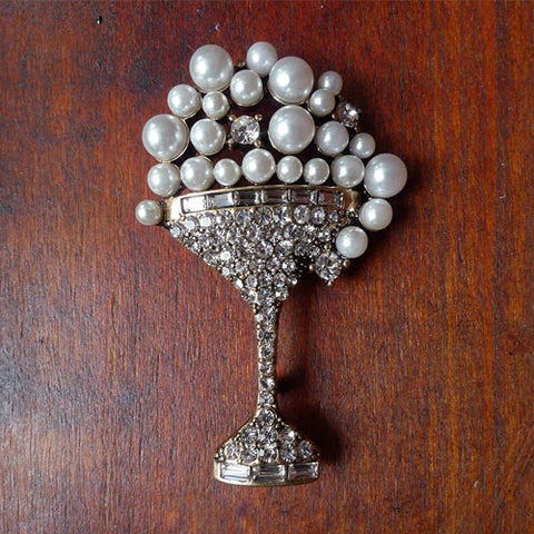 Vintage Brooch Clips Rhinestone Pearl Wine Cup Gift Jewelry Accessories Women