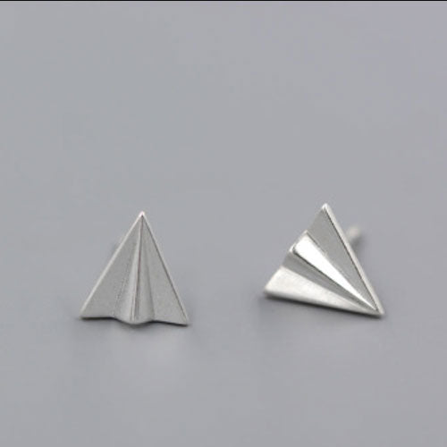Silver Earrings Origami Folded Paper Airplane Jet Tiny Stud Gift Jamber Jewelry Accessories Women