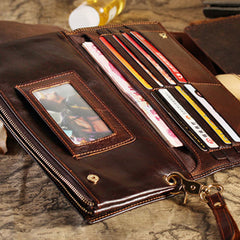 Handmade leather vintage men long wallet clutch phone purse wallet